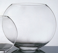 "Flat 10"" Round Globe Clear Glass Vase"