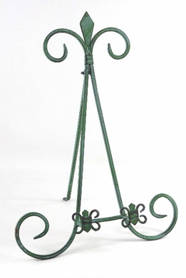 Fleur-De-Lis Green Patina Table Easels 16""