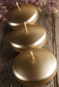 Floating Candles Large Metallic Gold 3 in. (12 candles)