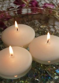 "Floating Candles Smokeless Slow Burning 2.8"" Ivory (3 candles)"