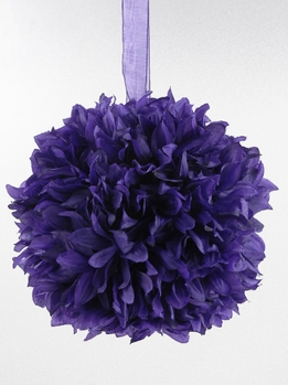 "Flower Ball Decorations 8"" Purple with ribbon hanger"
