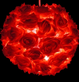 "Flower Ball Lights Red Rose Silk Flowers 12"" Round"