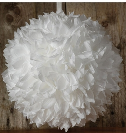 "Flower Balls 12"" White with ribbon hanger"