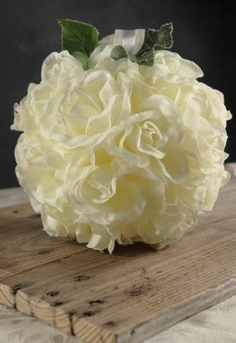 Flower Balls Cream Silk Roses 8""