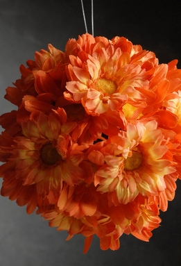 Flower Balls Orange Silk 7""
