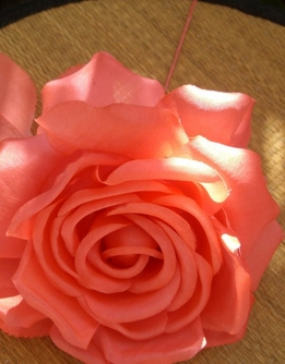 "Flower Couture Vintage 5"" Orange Silk Tea Rose"