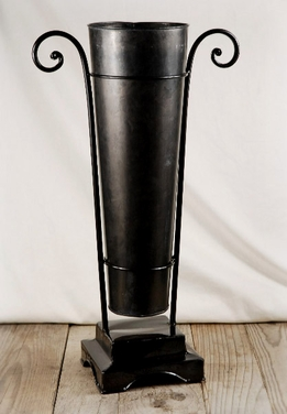 "Flower Market 20"" Black Bucket with Black Metal Stand"