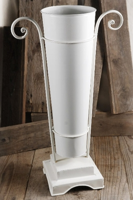 "Flower Market 20"" White Bucket with White Metal Stand"