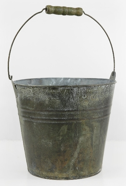 Flower Shop Bucket With Wood Handle 8in