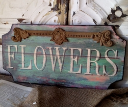 Flowers Wood Sign 17in