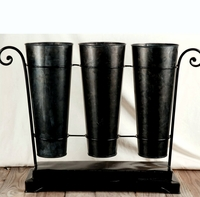 French Flower Market Bucket Trio with Stand
