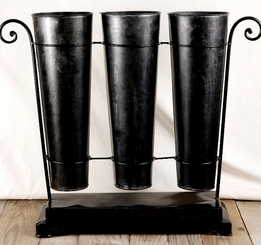 "French Flower Market 16"" Metal Buckets (3 buckets) with a stand"