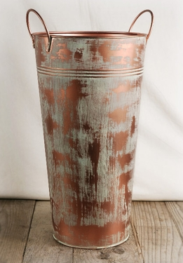 "French Flower Market Buckets 15"" Verdigris Copper"
