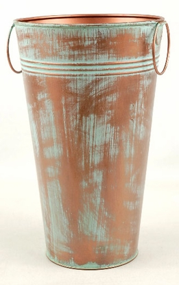 "French Flower Market Buckets 6.5x 11"" Verdigris"