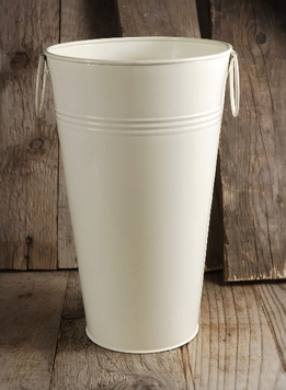 "French Flower Market Cream White Buckets 11"" with Liners"