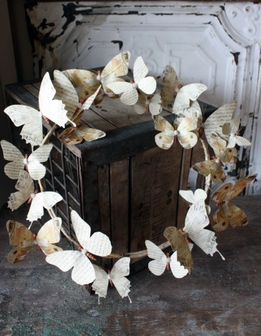 French Script Parchment Paper Butterfly Wreath