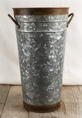 Galvanized Flower Market Bucket Two Tone