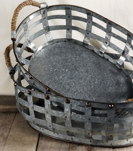 Galvanized Metal Baskets with Rope Handles (set of two)