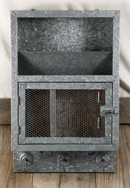 Galvanized Metal Key & Mail Cabinet