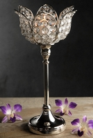 "Glass Crystal Tulip Candle Holders 13"" Pedestal"