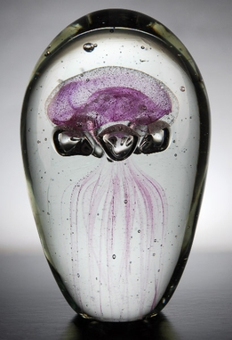 Glass Jellyfish Paperweight 6 in. Pink