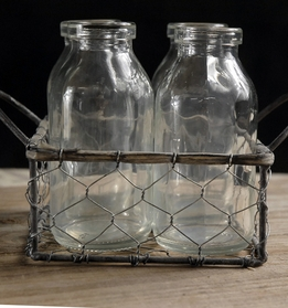 Glass Milk Bottles in Chicken Wire Carrier (4 bottles)