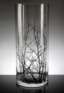 Winter Thicket Glass Cylinder Vase 14 in.