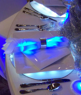 Glow Bracelets make great napkin rings for parties with low lighting