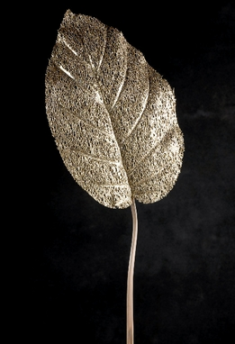 "Gold Filgree Leaves 13"" Pothos Leaf"