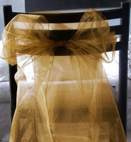 Gold Organza Chair Sashes (Pack of 10)