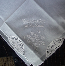 GRANDMOTHER OF BRIDE Embroidered Wedding Handkerchief