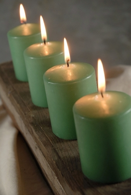 "Green 3"" Candles Unscented 25 hr. burn Cotton Wicks (4 candles/pkg)"