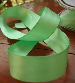 "Green Apple Double Face Satin Ribbon 1"" width 9 yds"