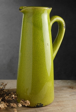 Green Ceramic Pitcher Vase
