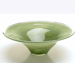 "Green Glass Verte Bowl 16.5"" x 6"""