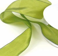 "Green Two Tone Silky Ribbon 1-1/2"" width 25 yards"
