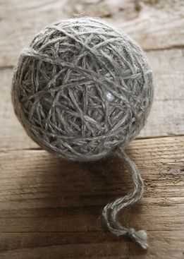 Grey Yarn Ball Ornament 3""