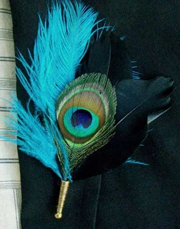 Grooms Buttonhole Boutonni�re Turquoise & Peacock Feathers