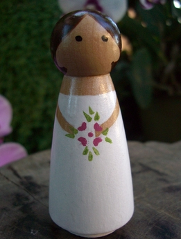 Hand Painted Cake Toppers : Bride with Brown Hair
