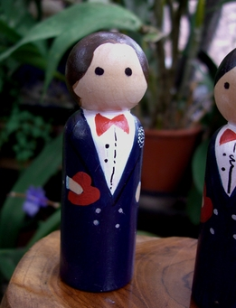 Hand Painted Cake Toppers : Groom Brown Hair, Dark Blue Tux , Red Tie, Heart-in-Hand