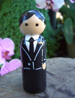 Hand Painted Cake Toppers : Groom with Black Hair