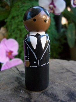 Hand Painted Cake Toppers : Groom with Black Hair and Brown Eyes