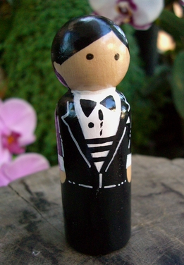 Hand Painted Cake Toppers : Groom with Black Hair, Bow Tie & Gold Cuff Links