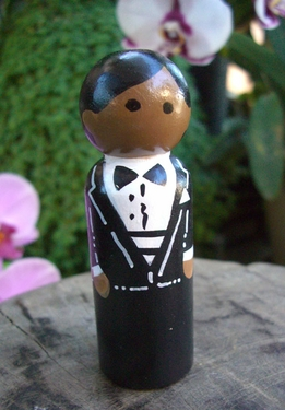 Hand Painted Cake Toppers : Groom with Black Hair, Bow Tie & Gold Cufff Links