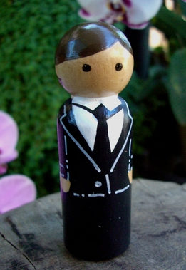 Hand Painted Cake Toppers : Groom with Brown Hair