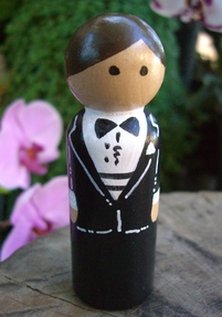 Hand Painted Cake Toppers : Groom with Brown Hair, Bow Tie & Gold Cuff Links