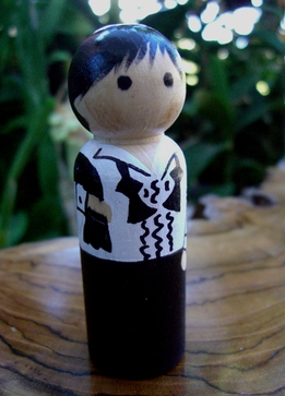 Hand Painted Cake Toppers : Hangover Groom with Black Hair