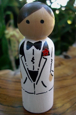 Hand Painted Wood Cake Toppers : Groom with White Tuxedo Brown Hair