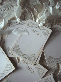 Handmade Wish Tags Cream Tags with silk ribbon ( 24 tags)