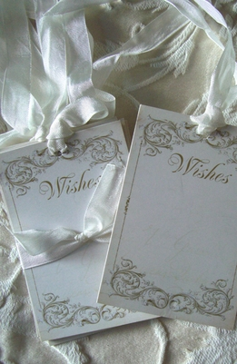 Handmade Wish Tags Cream w/ silk ribbon (12 tags)